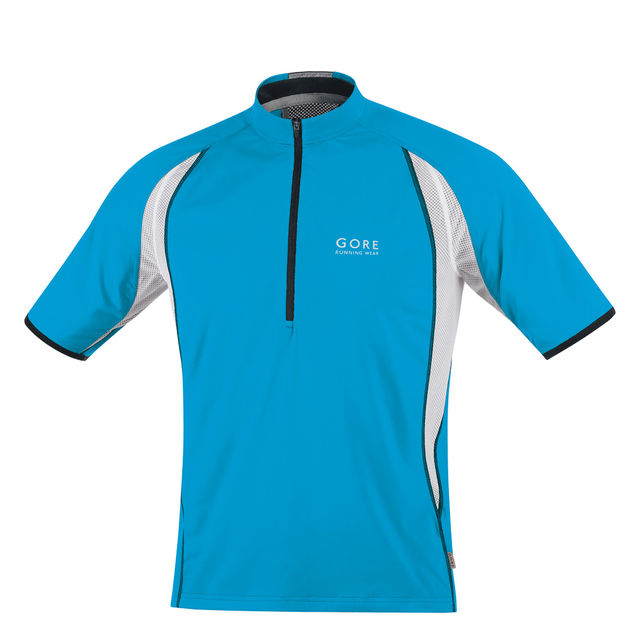 Gore AIR ZIP Shirt in Pool Blue/Black/White
