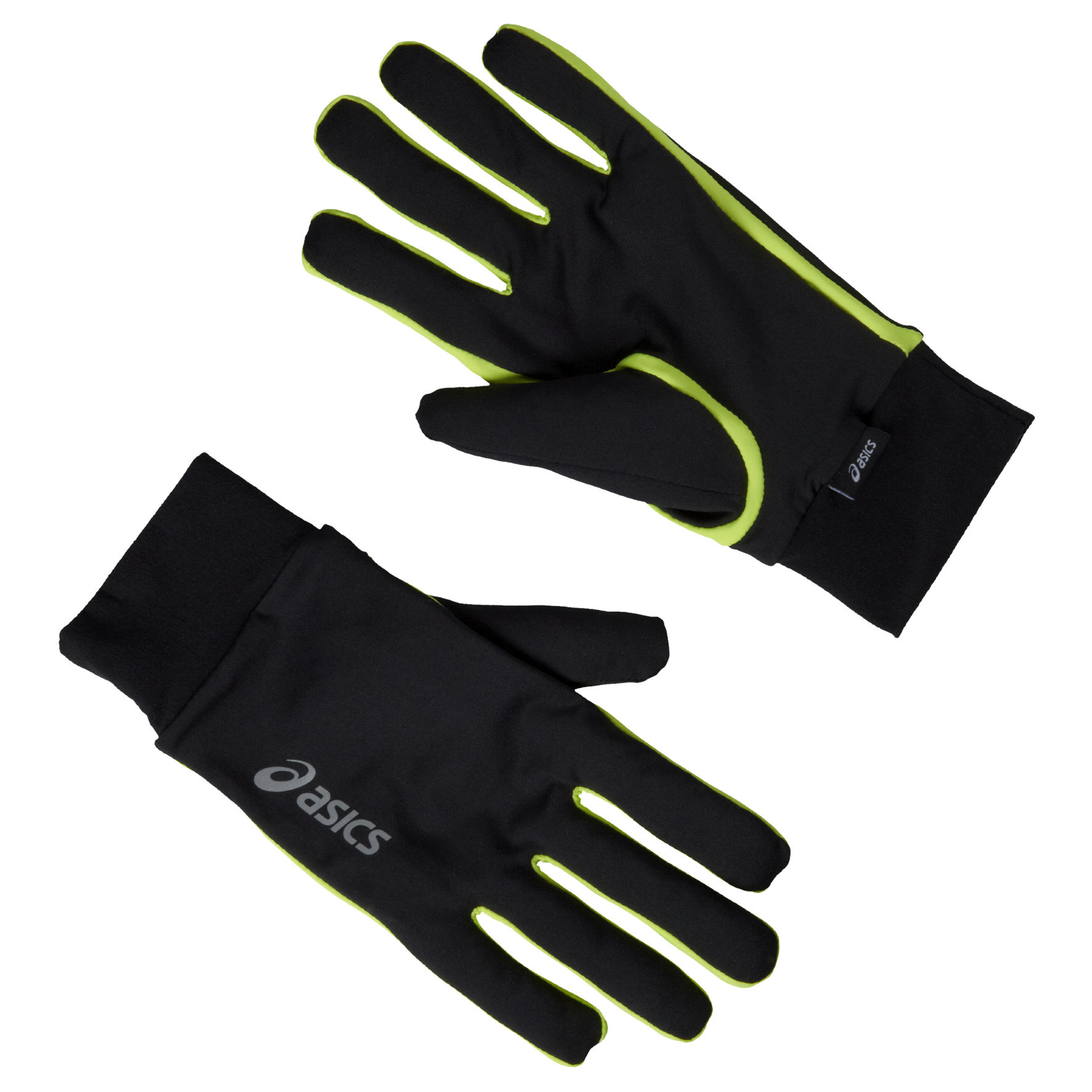 Asics Basic Gloves in Schwarz Neongelb