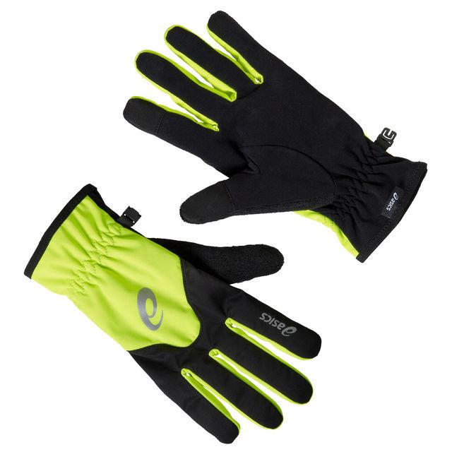 Asics Winter Glove in Schwarz Neongelb