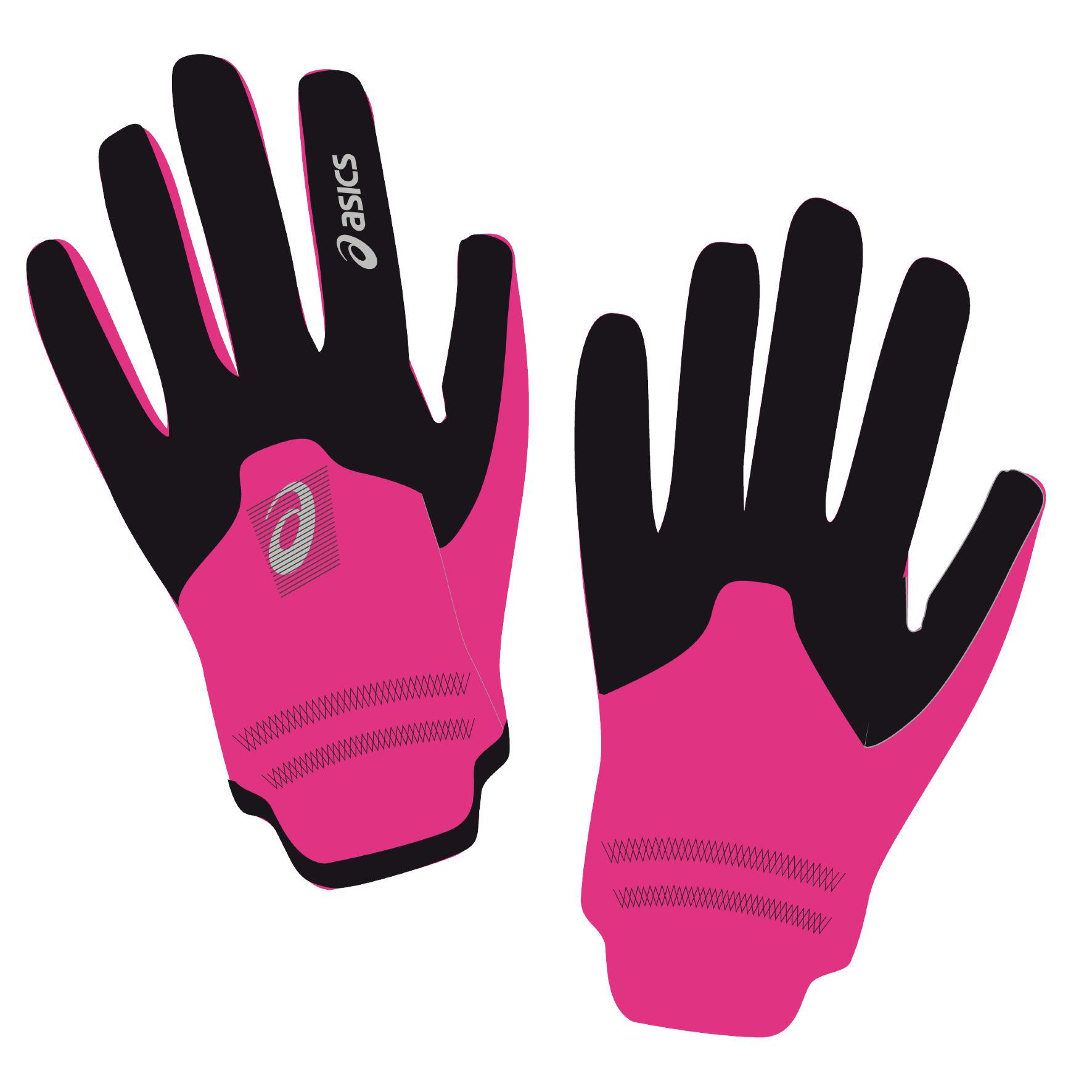 Asics Winter Glove in Schwarz Pink