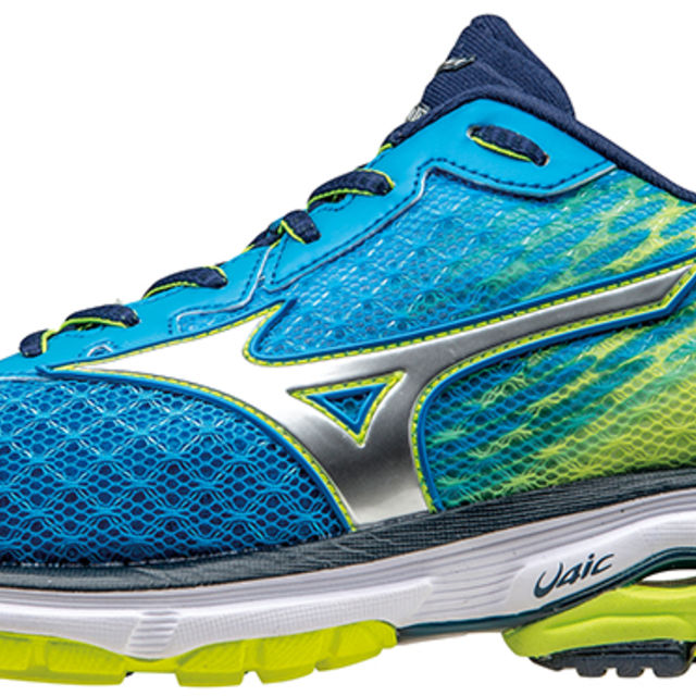 Mizuno Wave Rider 19 in Blau Gelb