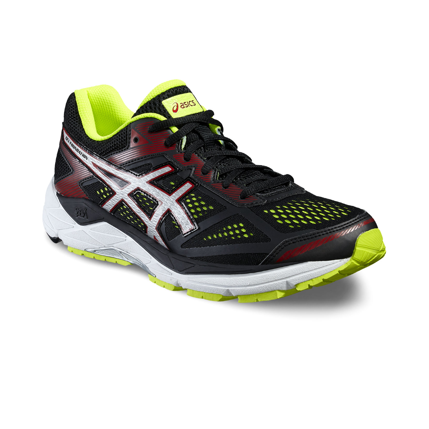 Asics Gel Foundation 12 2E in Schwarz Gelb