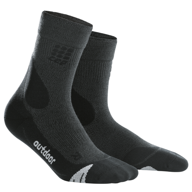 cep W Merino Walking Socks in Schwarz/Grau