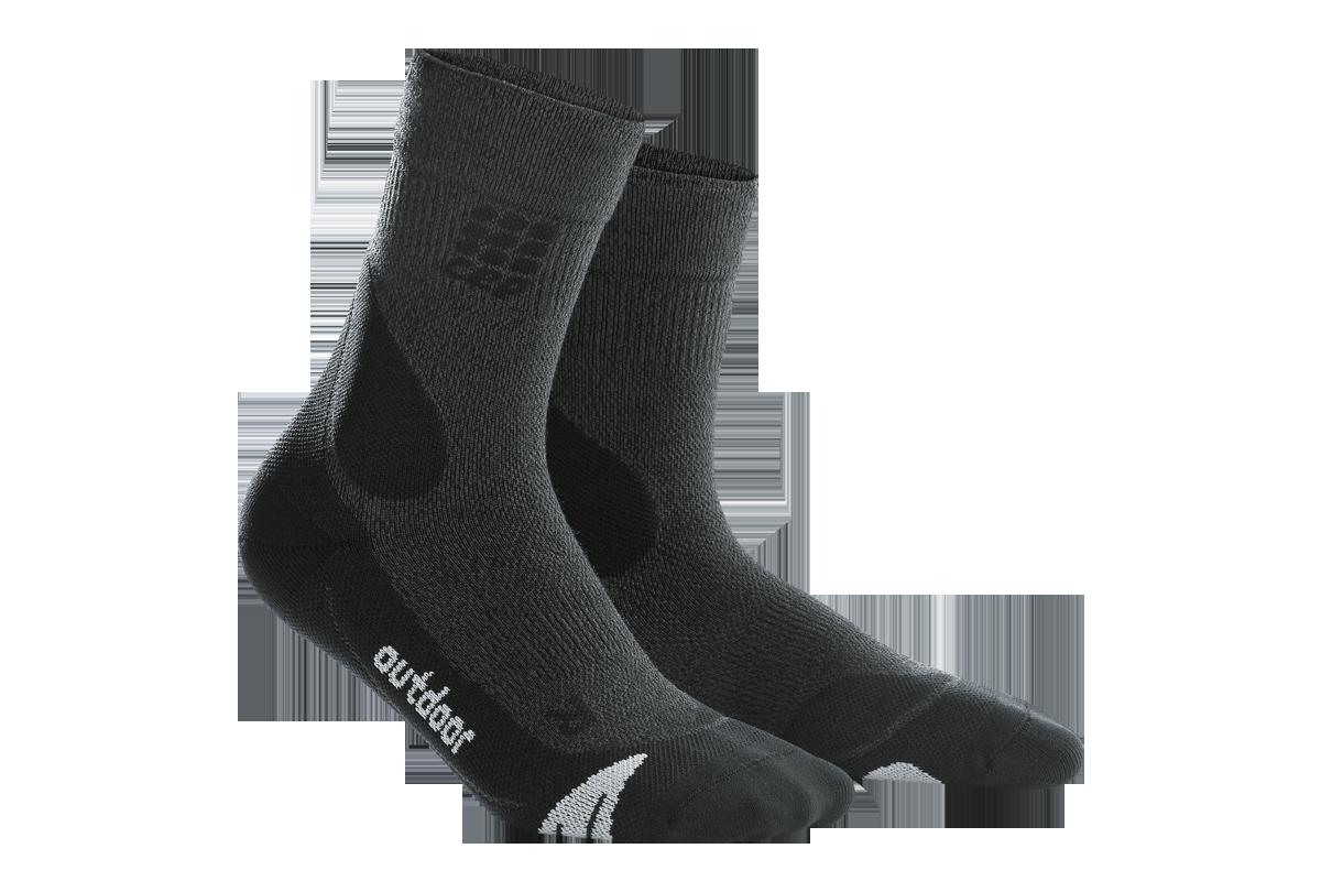cep W Merino Walking Socks in Schwarz/Grau