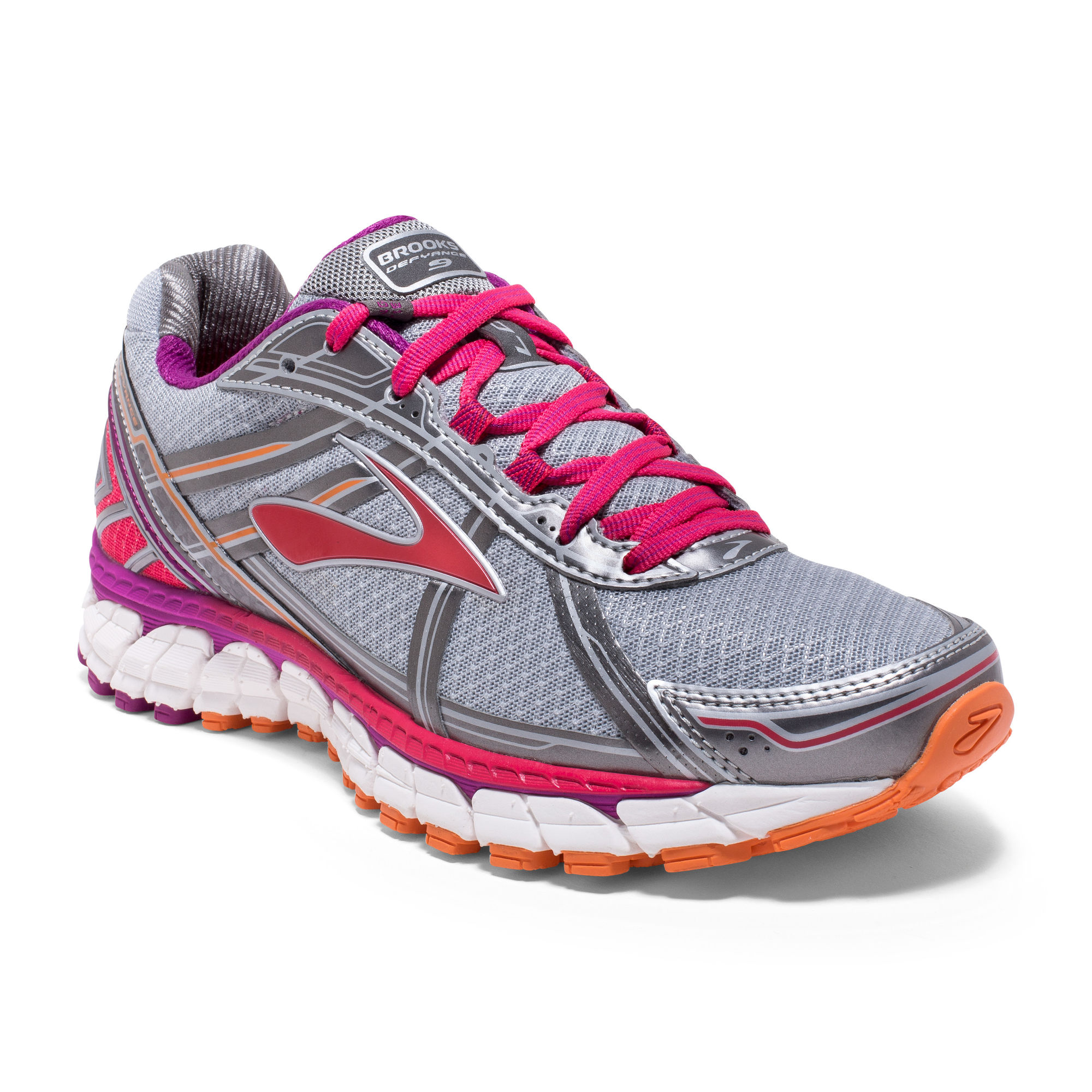 Brooks Lady Defyance 9 2A in Grau Pink