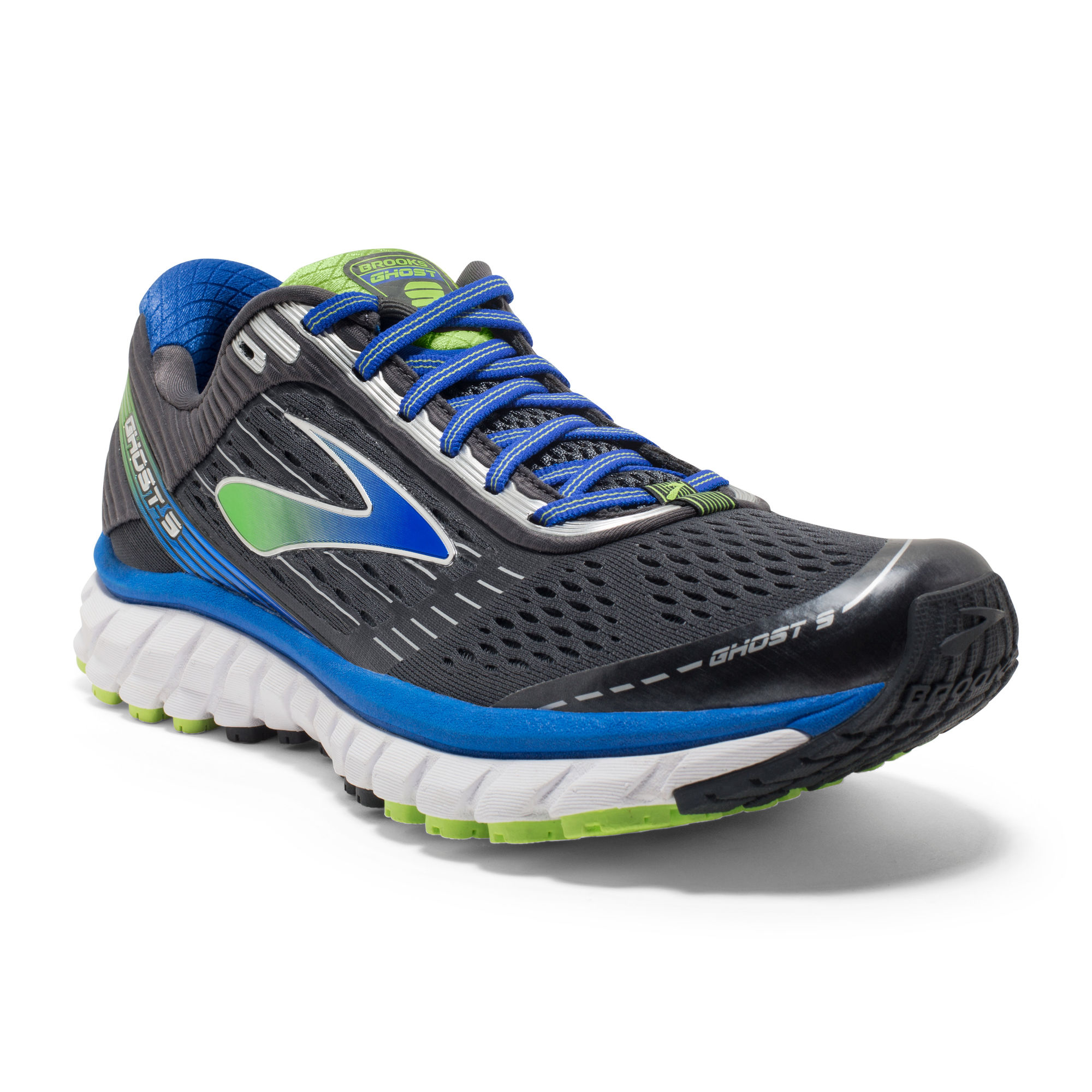 Brooks Ghost 9 in Electric Blue/Lme