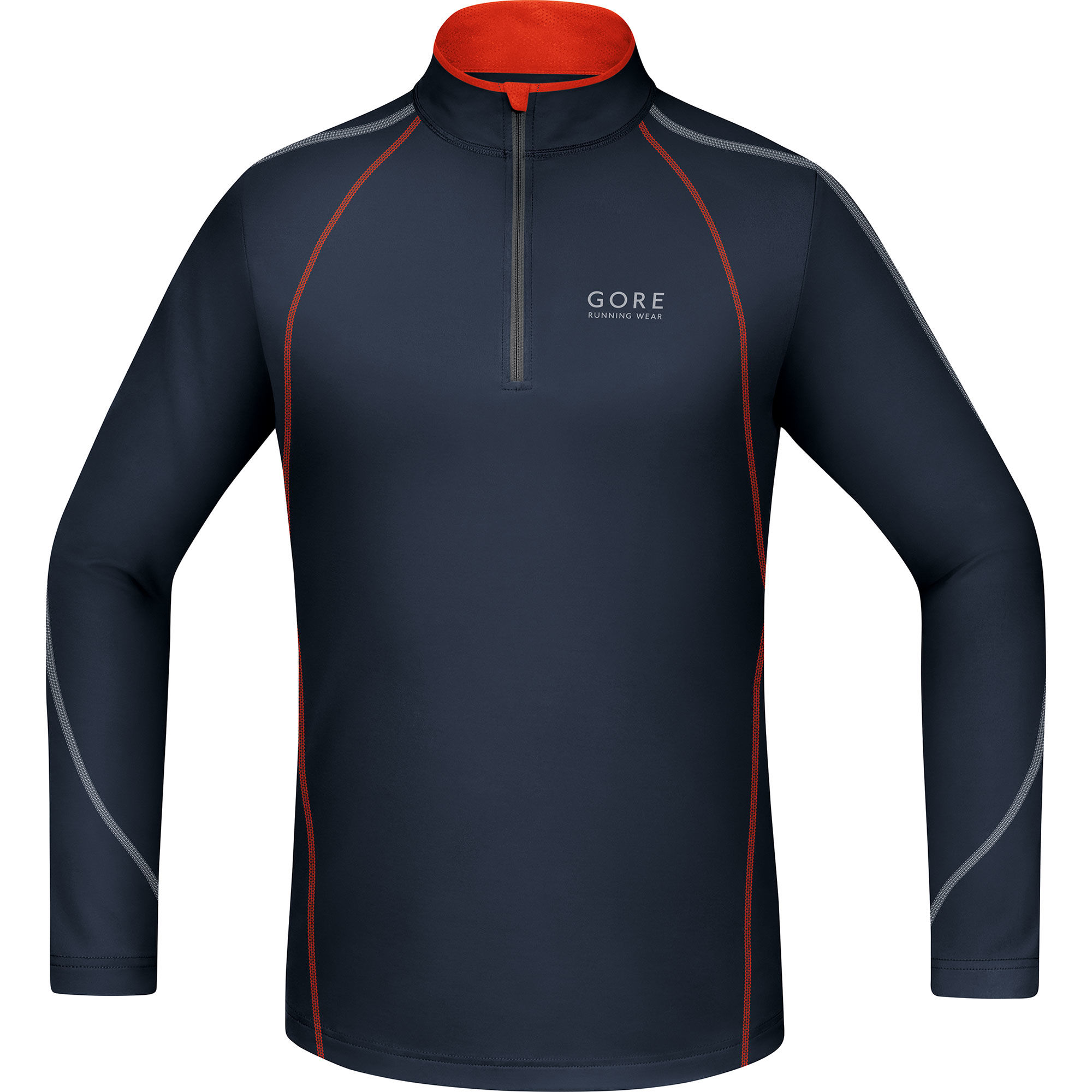 Gore Essential Zip Shirt lang in Schwarz Orange