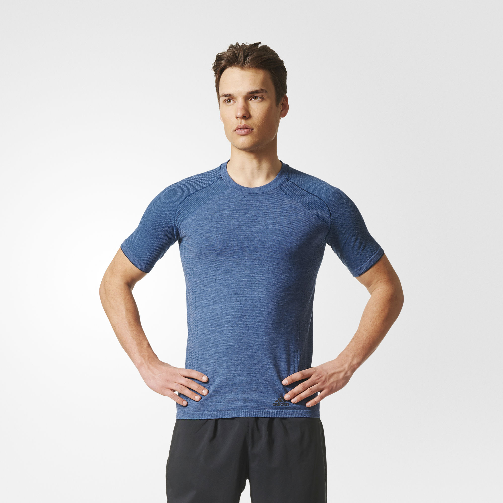 adidas Primeknit Wool Short Sleeve Tee in Blau