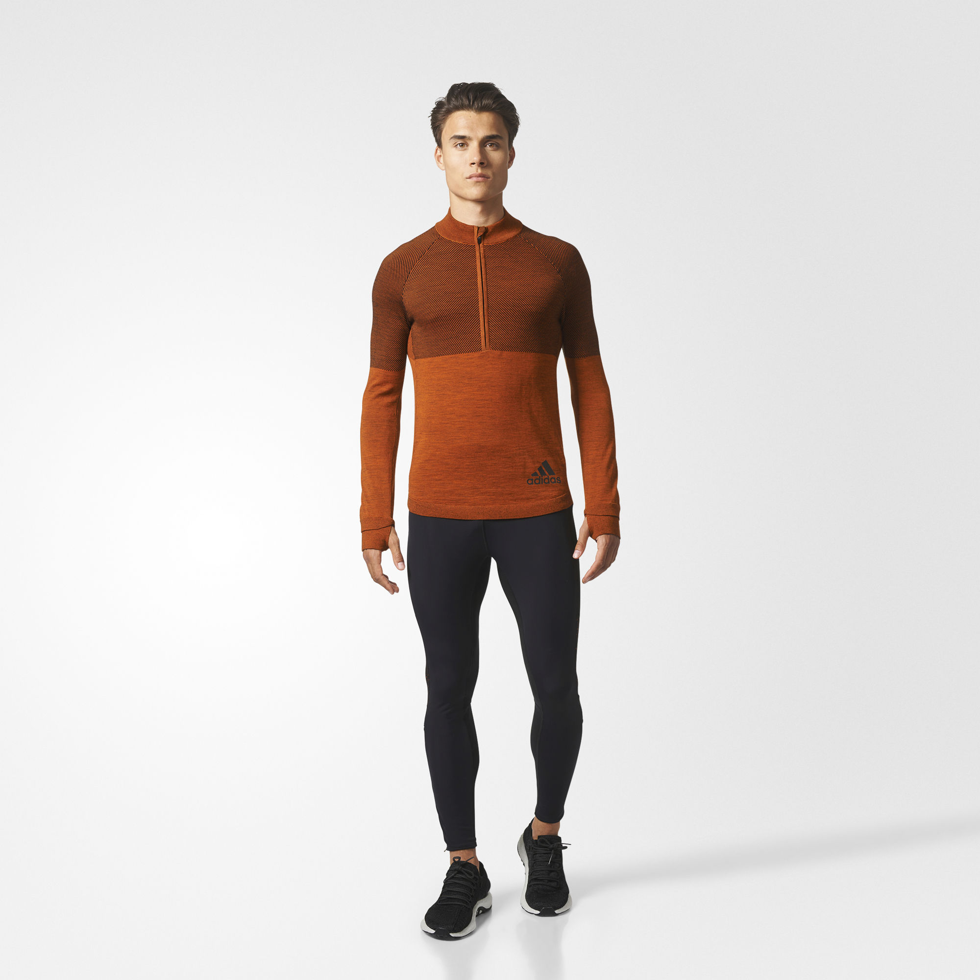 adidas Climaheat Primeknit 1/2 Zip in Orange Schwarz