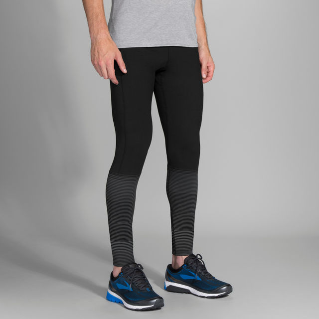 Brooks Greenlight Tight in Black Asphalt Stripe