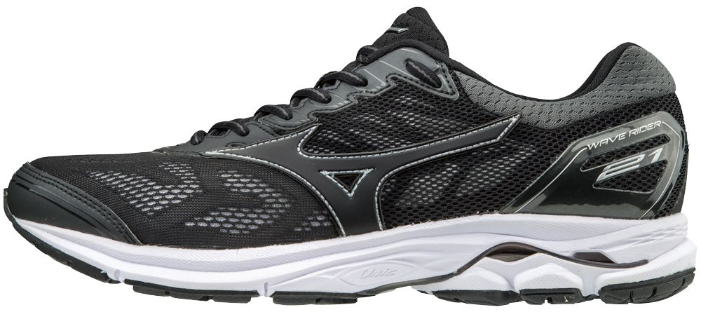 Mizuno Wave Rider 21 in Black/Black/Silver