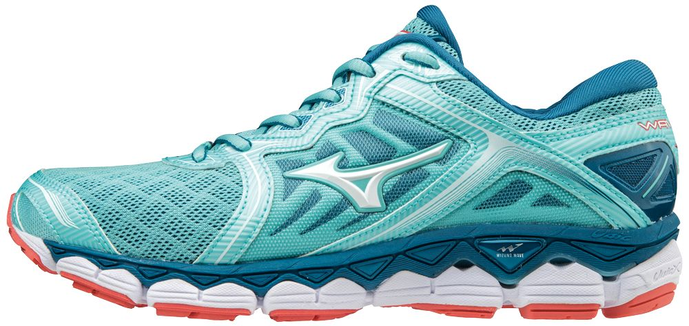 Mizuno Lady Wave Sky in Aqua Splash/White/Hot Coral