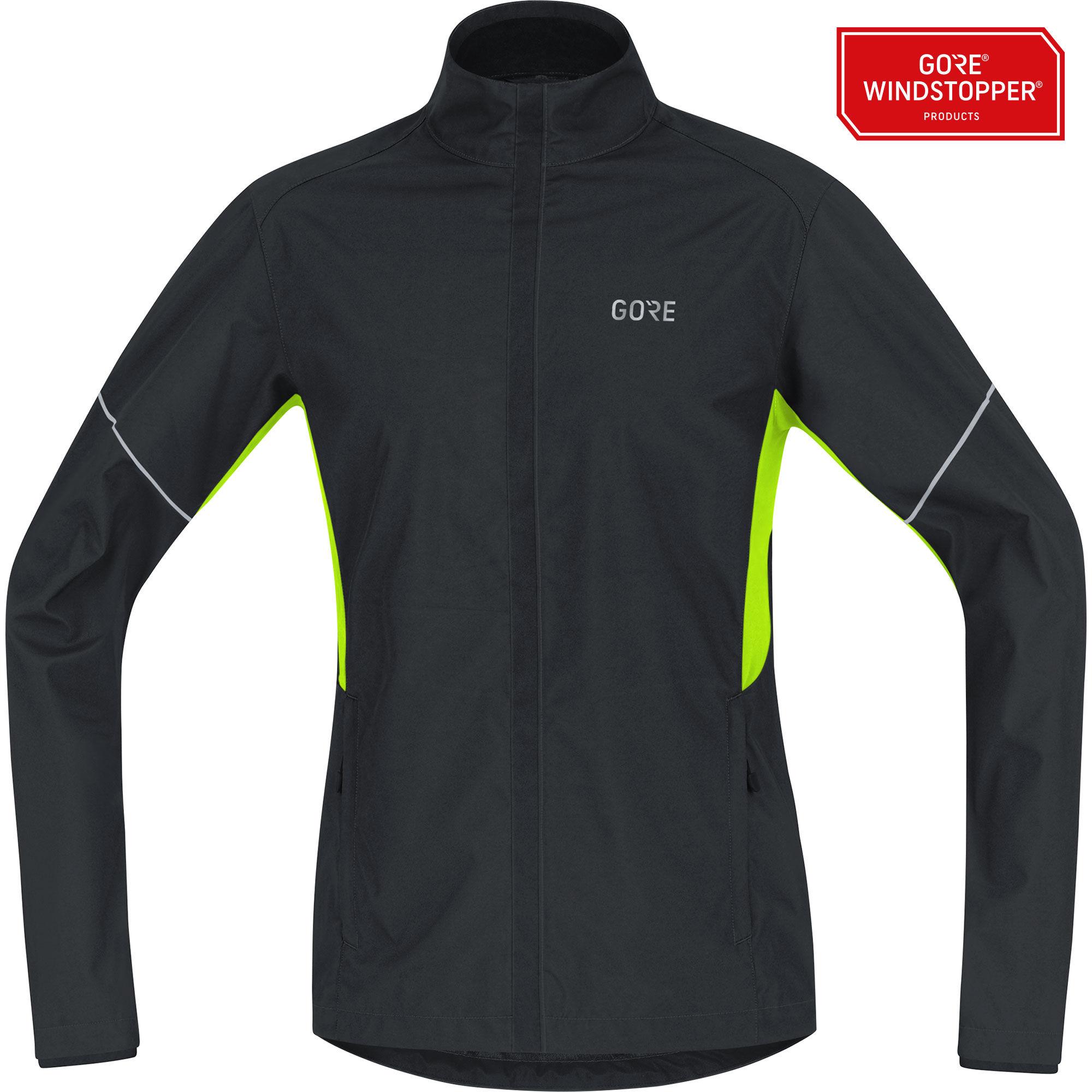 Gore R3 Essential Partial GWS Jacket in Schwarz Neon Gelb