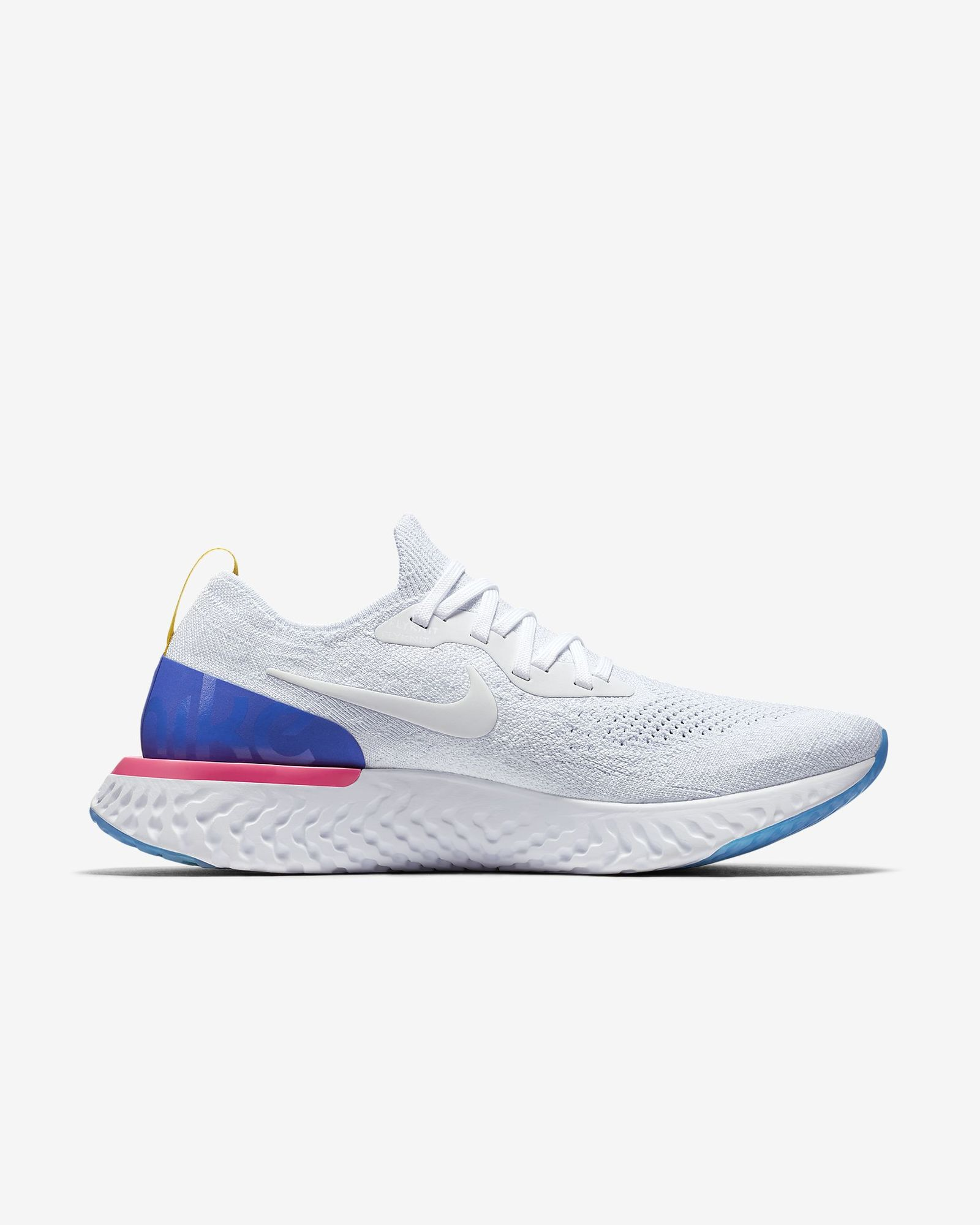 Nike Epic React Flyknit in Weiß Blau