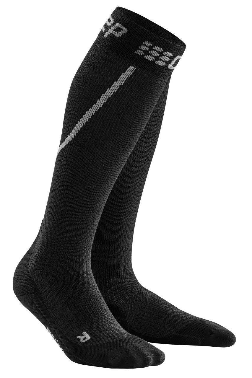 cep Winter Run Socks Women in Grau Schwarz