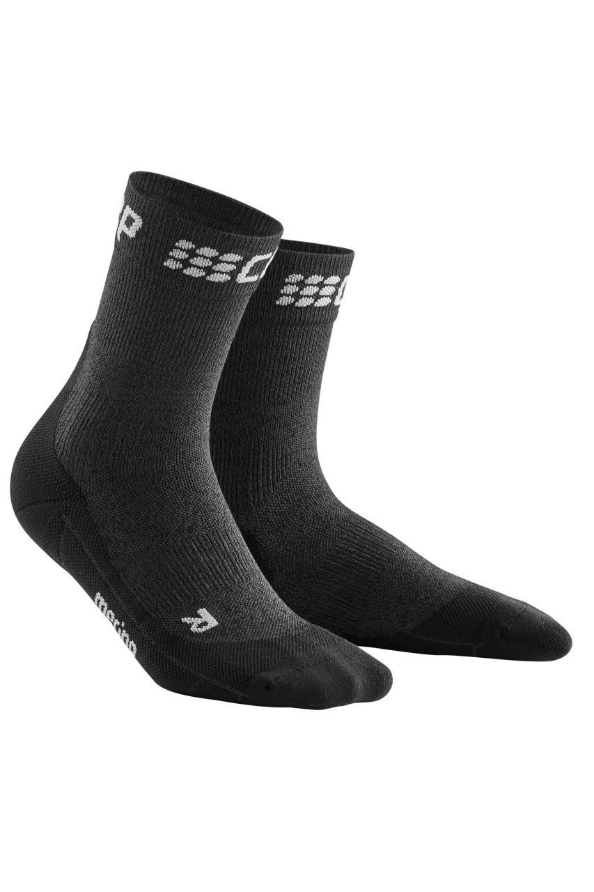 cep Winter Short Socks in Grau Schwarz