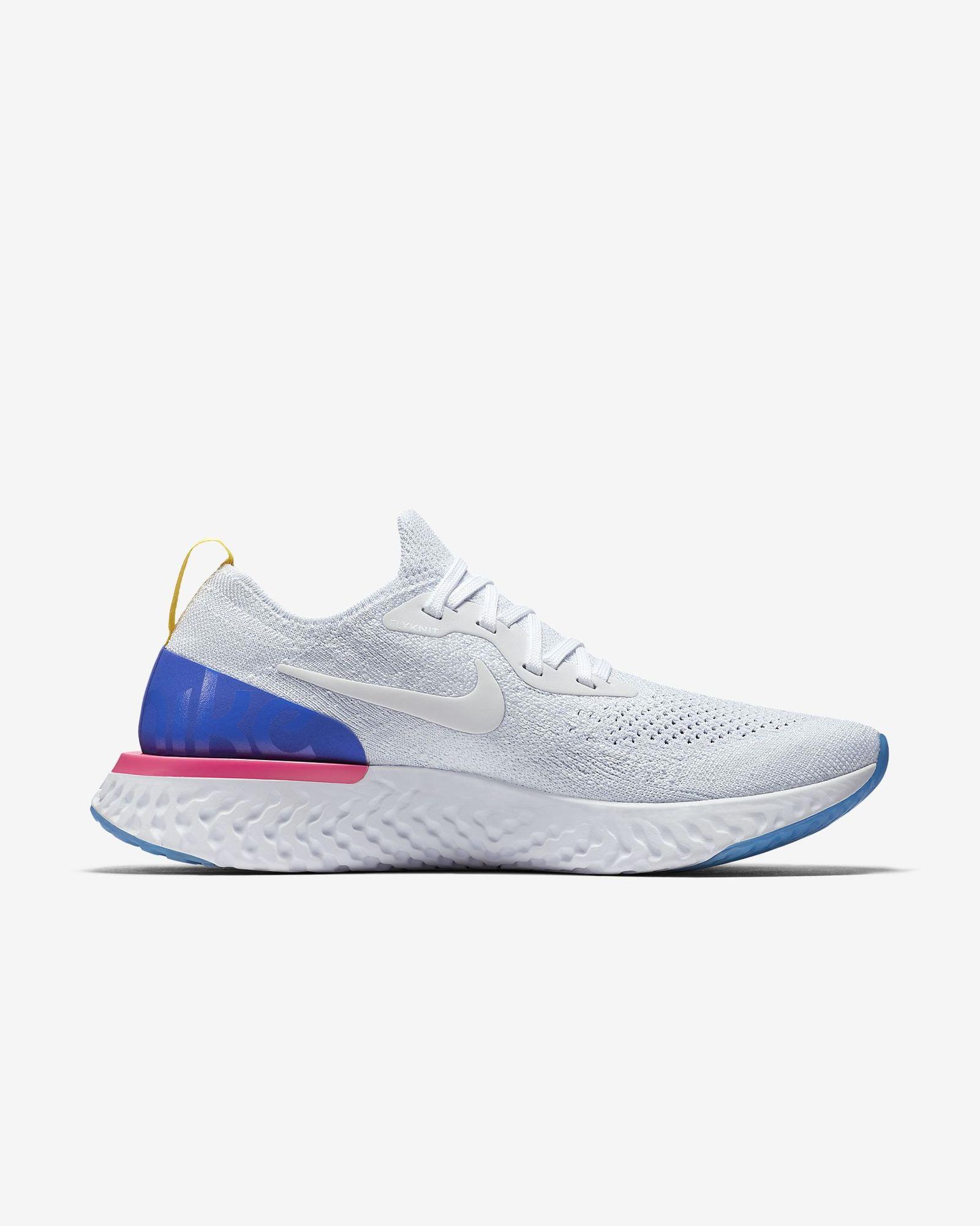 Nike Lady Epic React Flyknit in Weiß Blau Pink