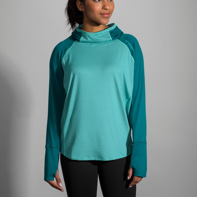 Brooks Lady Dash Hoodie in Grün Weiß