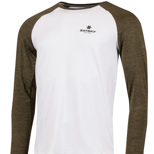 SAYSKY Corporate Langarmshirt in Weiß Grün