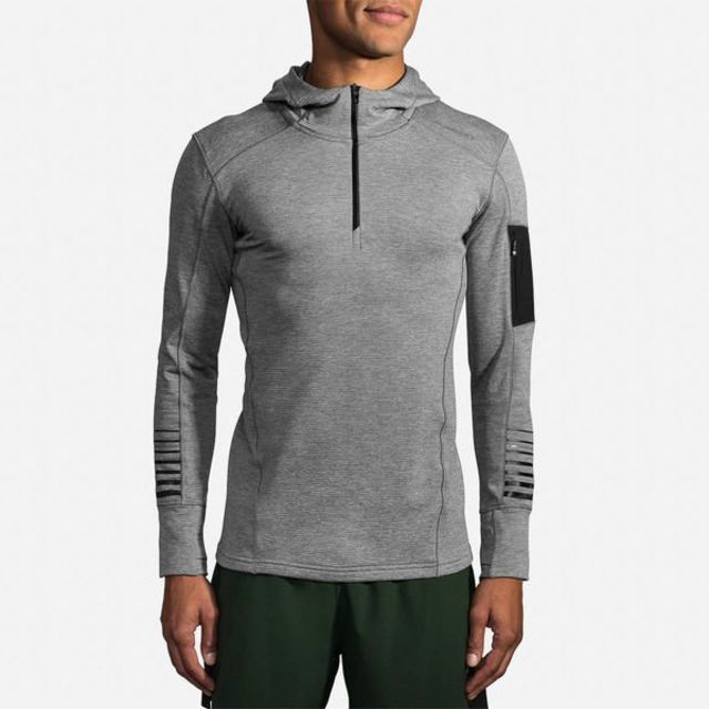 Brooks Notch Thermal Hoodie in Grau