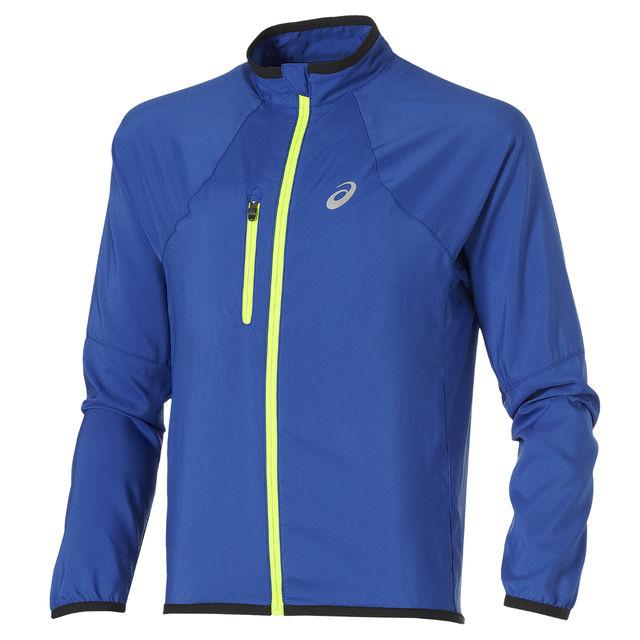 Asics Boys Woven Jacket in Blau Neongelb