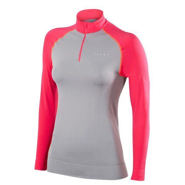Falke Zip Shirt Light w in Grau Rot