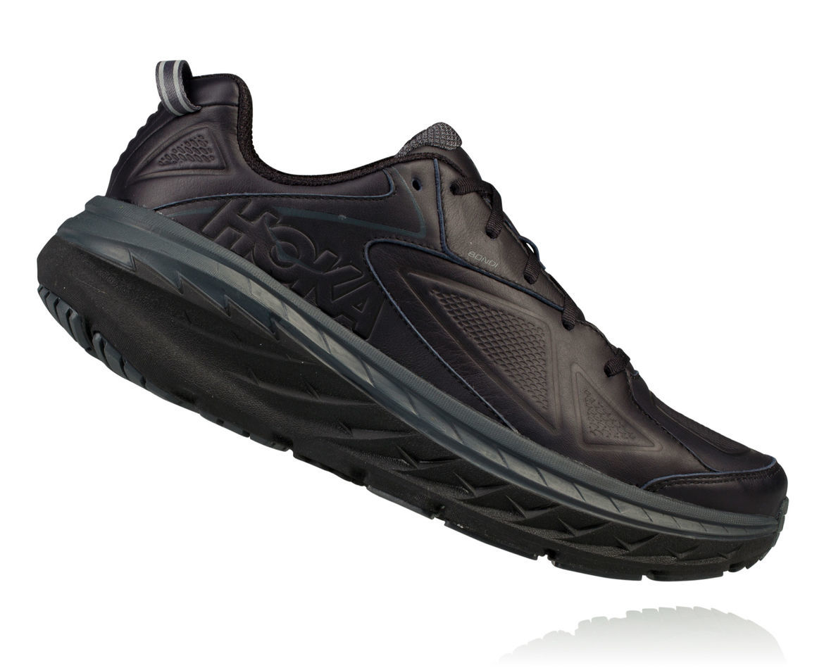 Hoka One One Bondi Leather (Schwarz)