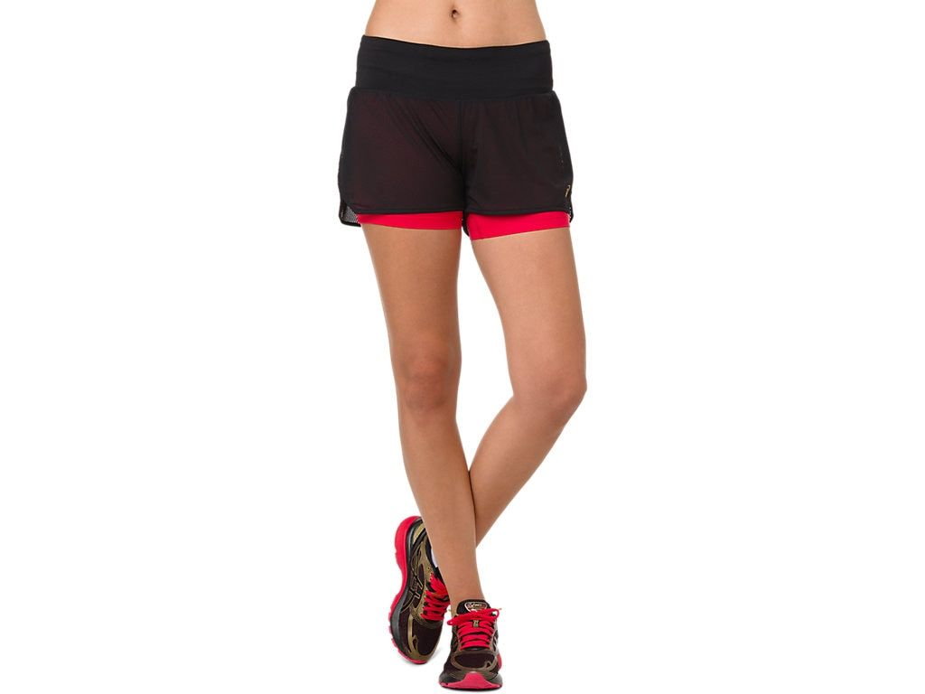 Asics Lady Cool 2-in-1 Shorts in Schwarz Rot