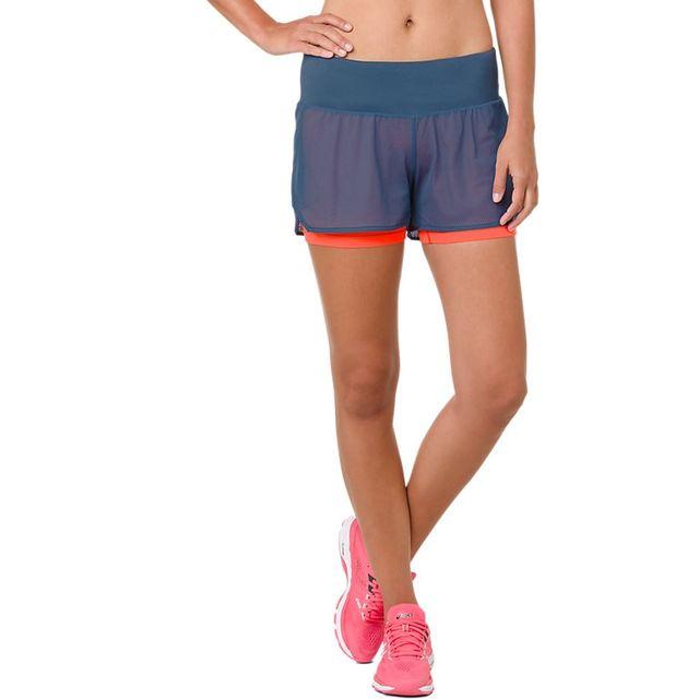 Asics Lady Cool 2-in-1 Shorts in Blau Orange