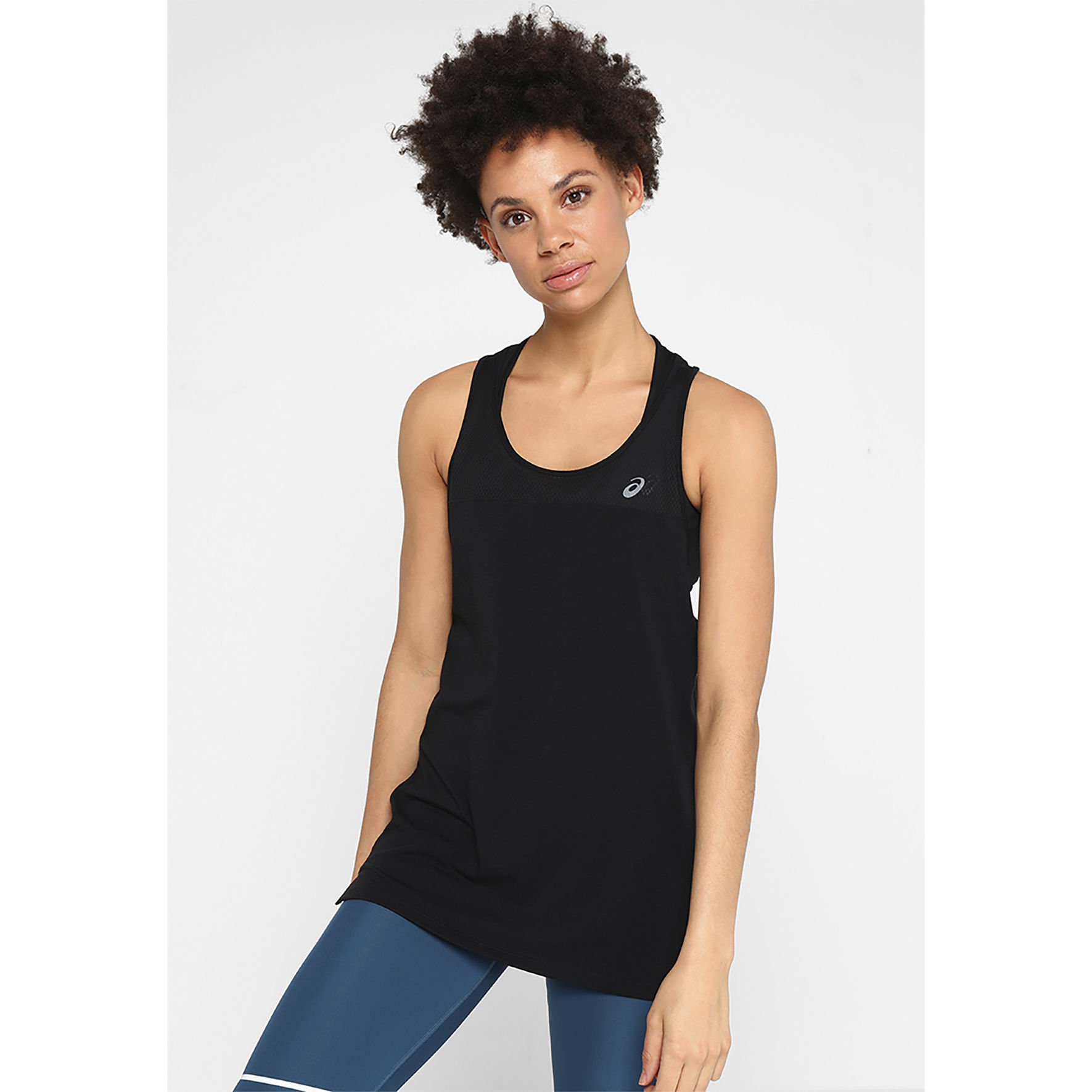 Asics Lady Loose Strappy Tank in Schwarz