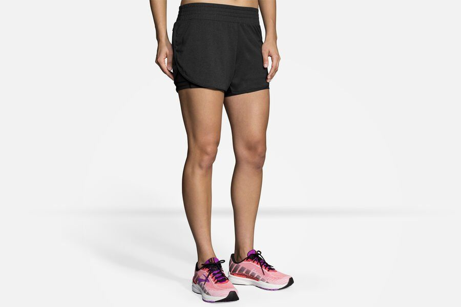 "Brooks Lady Rep 3"" 2in1 Short (Schwarz)"