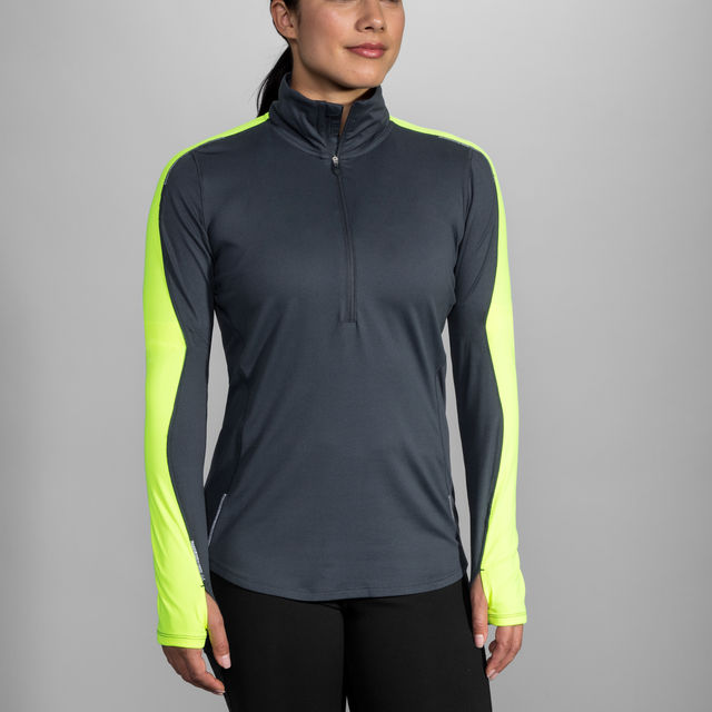 Brooks Lady Nightlife Half Zip in Grau Gelb