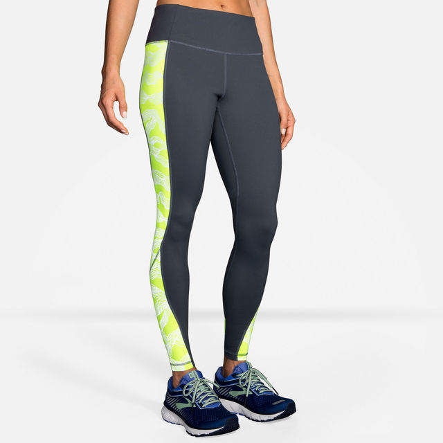 Brooks Lady Nightlife Tight in Grau Gelb