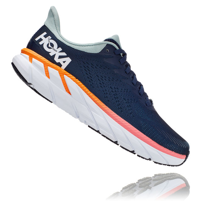 Hoka One One Lady Clifton 7 (Dunkelblau Türkis Orange Rosa Weiß)