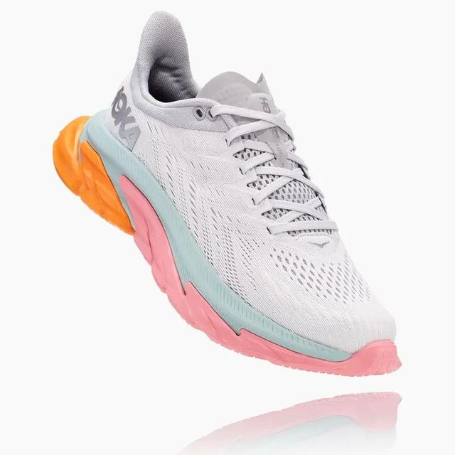 Hoka One One Lady Clifton Edge (Weiß Orange Rosa Hellblau)