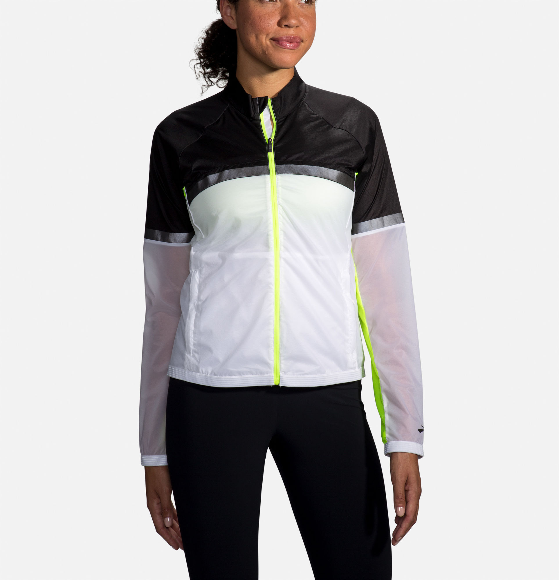 Brooks Lady Carbonite Jacket (Weiß Schwarz Neongelb)
