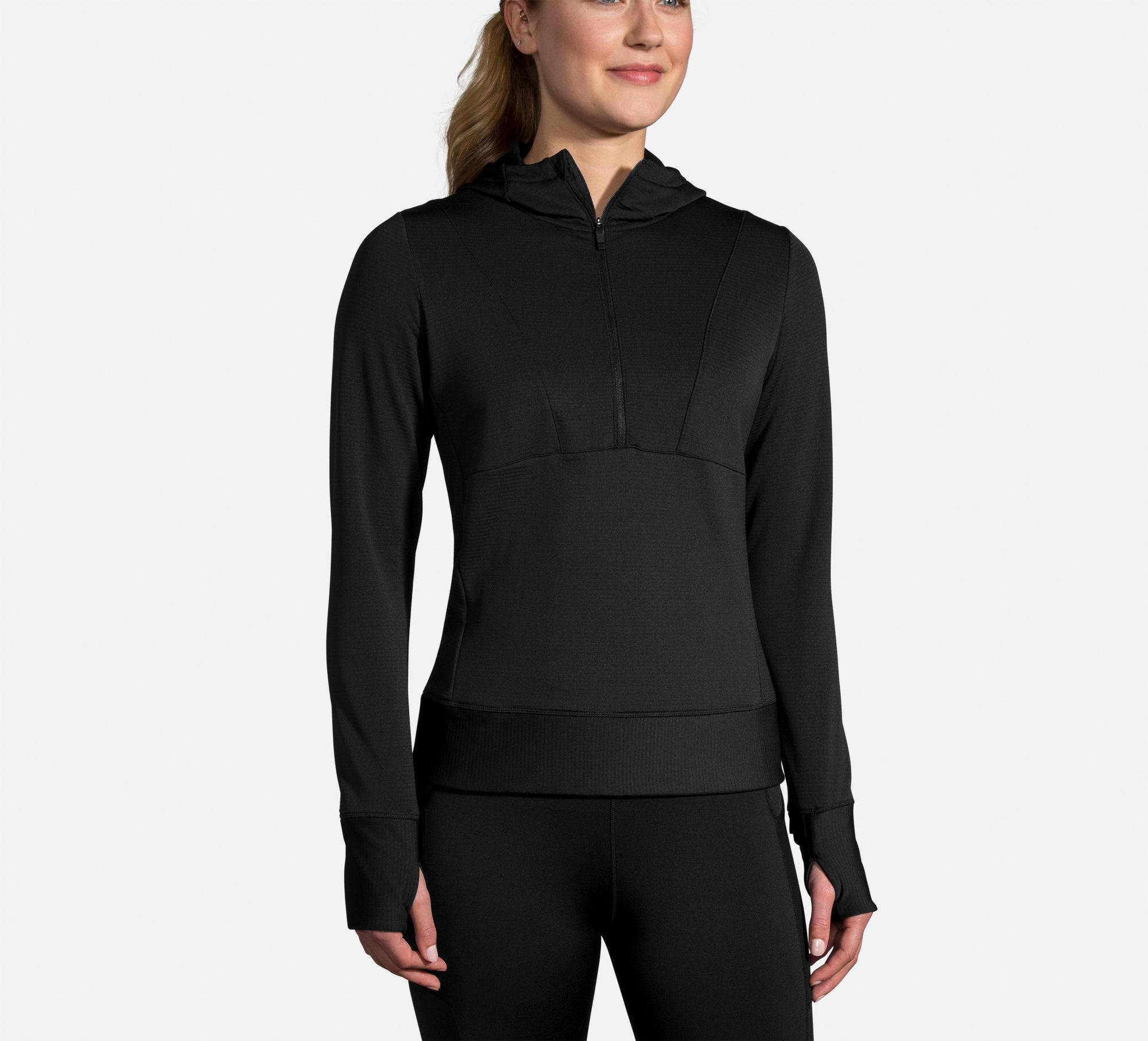 Brooks Lady Notch Thermal Hoodie (Schwarz)