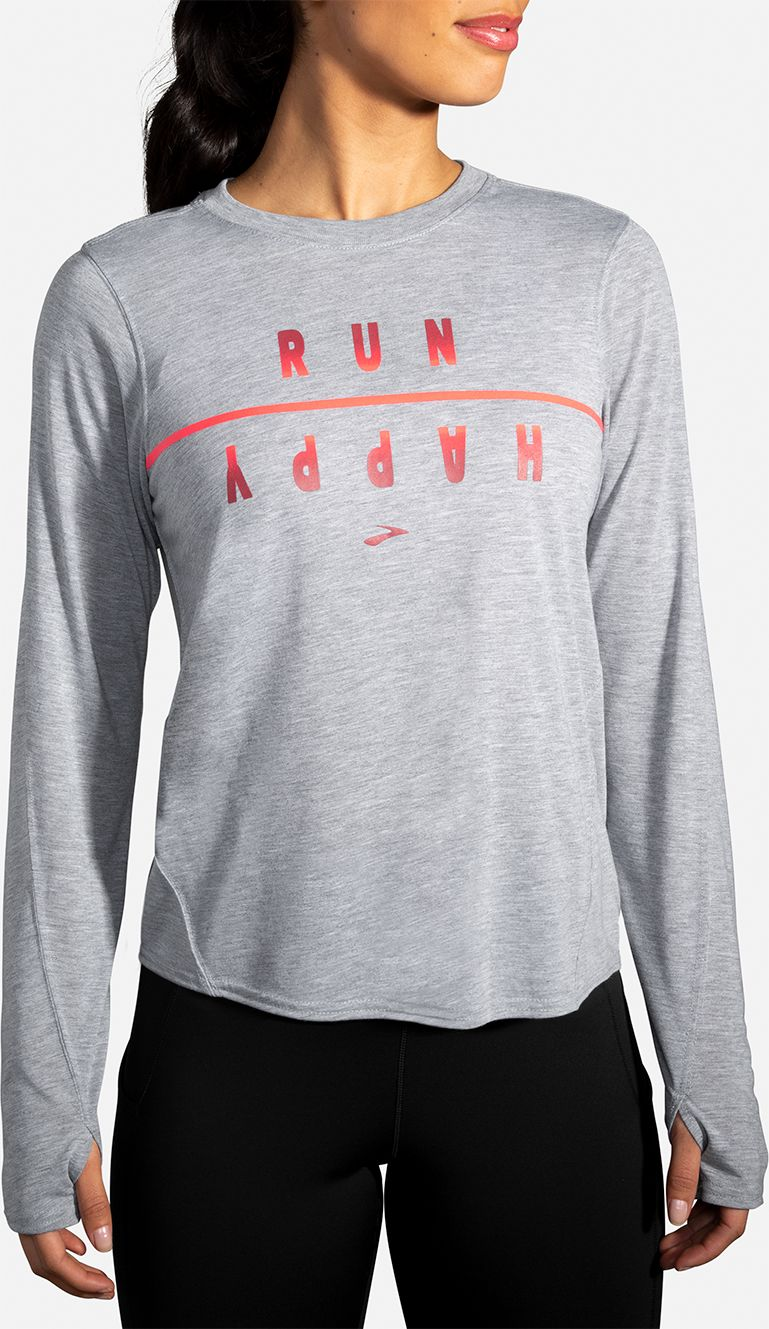 Brooks Lady Distance Graphic Long Sleeve (Heather Ash)