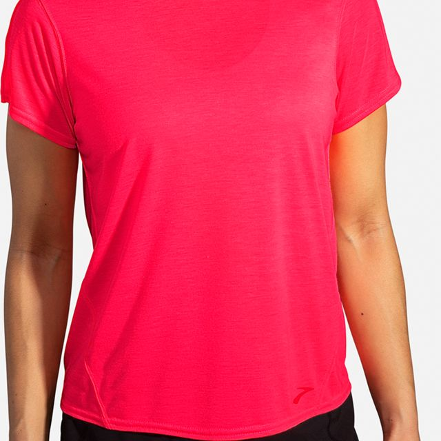 Brooks Lady Distance Short Sleeve (Fluoro Pink)