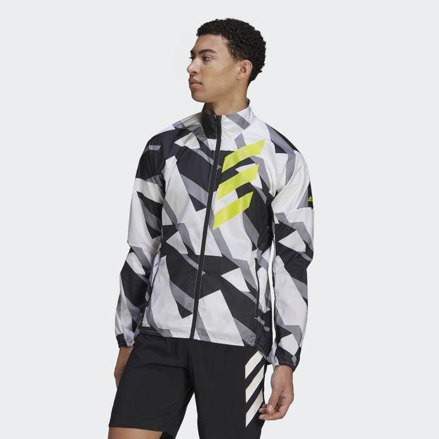 adidas Agravic Wind Jacket (White Grey Yellow)