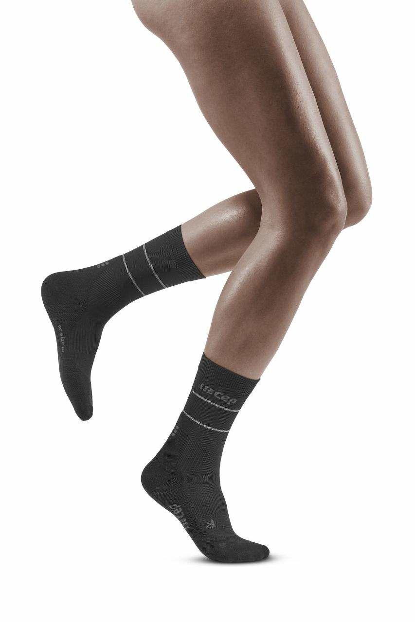 cep Women Comp. Mid Cut Socks 3.0 Refl. (Schwarz)