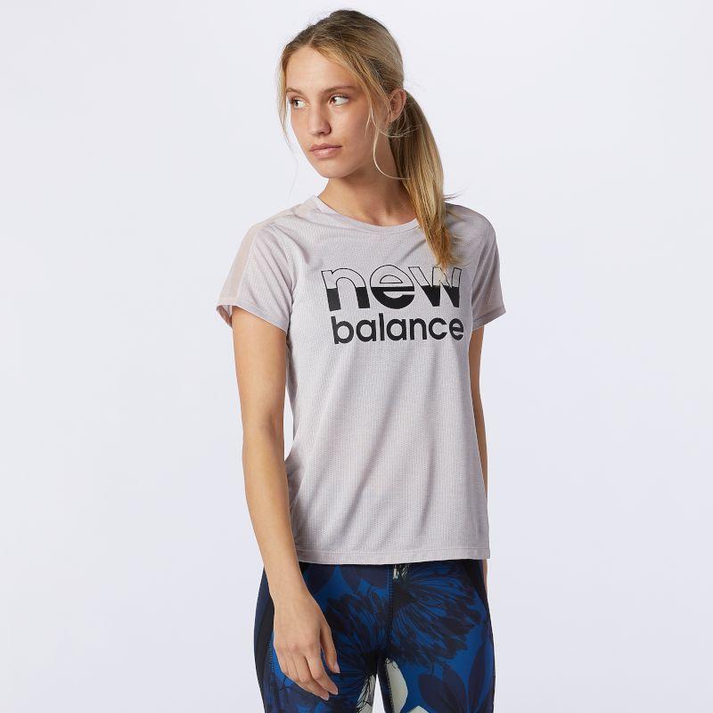 New Balance Lady Printed Impact Run Short Sleeve (Logwood Heather)
