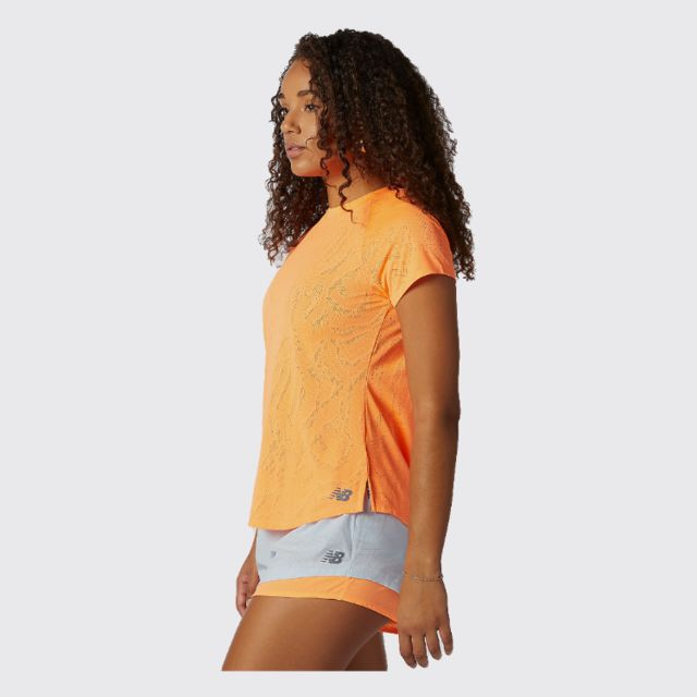 New Balance Lady Q Speed Fuel Jacquard Short Sleeve (Citrus Punch)