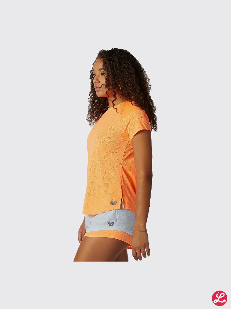 New Balance Lady Q Speed Fuel Jacquard Short Sleeve (Citrus Punch)