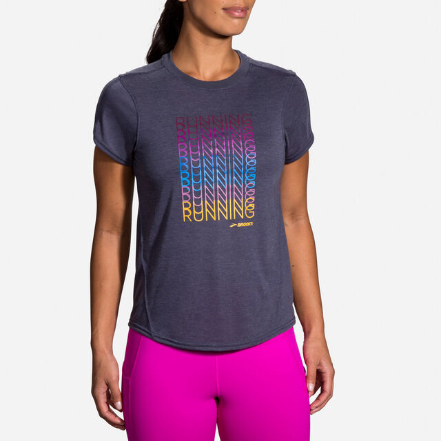 Brooks Lady Distance Graphic Short Sleeve (Heather Navy/Brooks Repeat)
